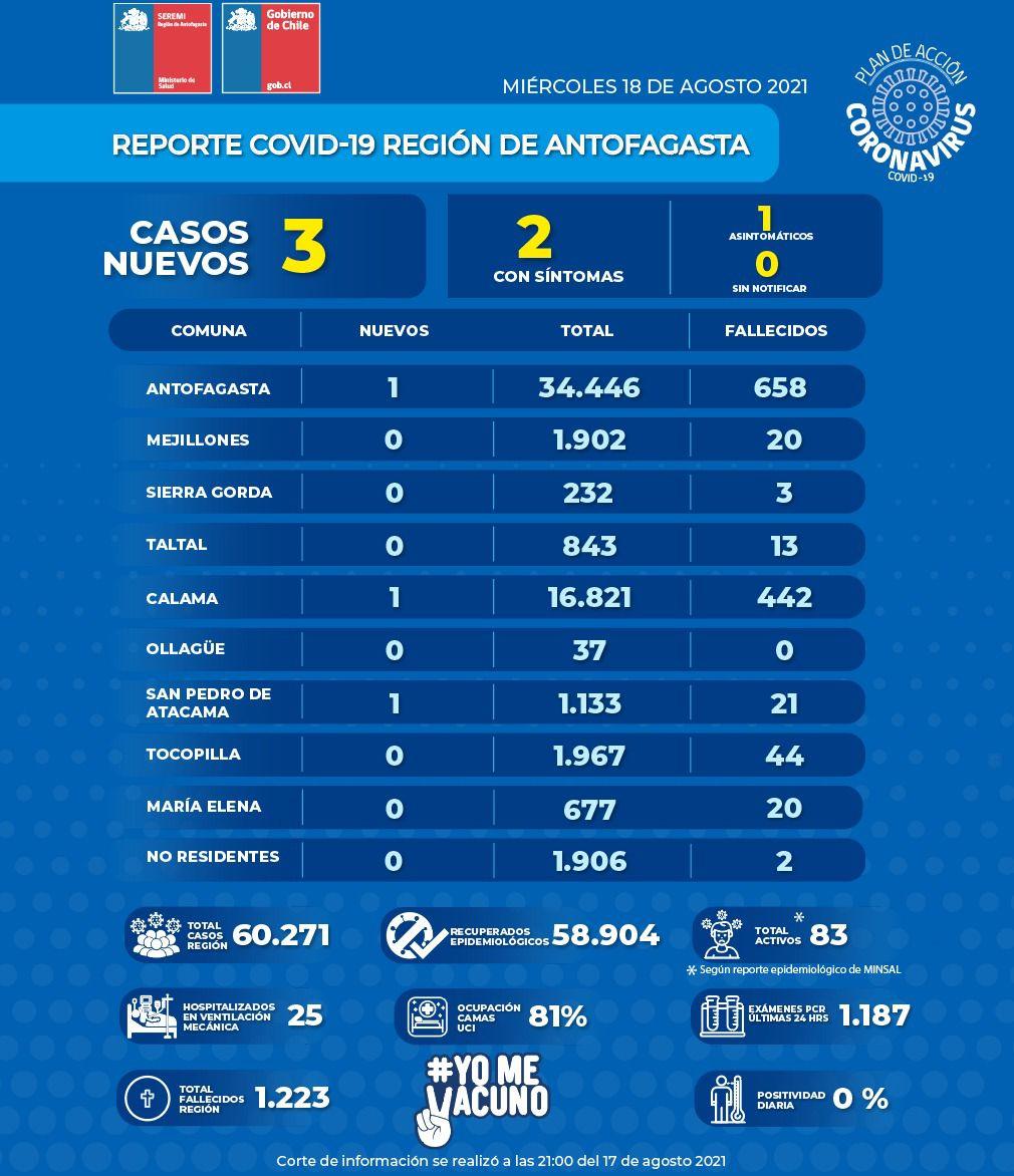 Desglose en la región de Antofagasta   Fuente: Ministerio de Salud